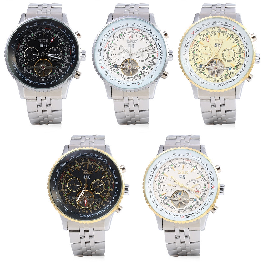 Jaragar F120506 Flywheel Automatic Mechanical Wrist Watch for Male Steel Strap