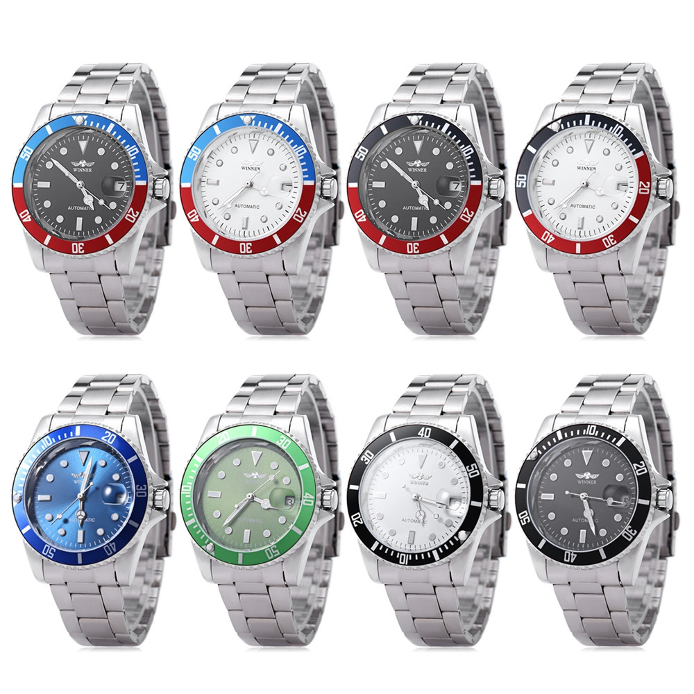 WINNER W042602 Male Automatic Mechanical Watch Date Display Luminous Transparent Back Cover Wristwatch