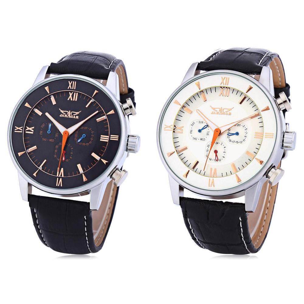 JARAGAR F120550 Male Auto Mechanical Watch Three Working Sub-dials Date Day Display Wristwatch