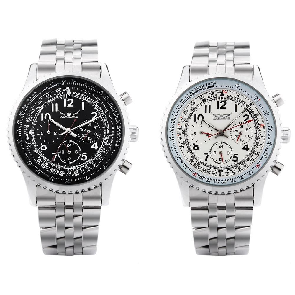 JARAGAR J014 Men Automatic Mechanical Watch Three Working Sub-dials Wristwatch