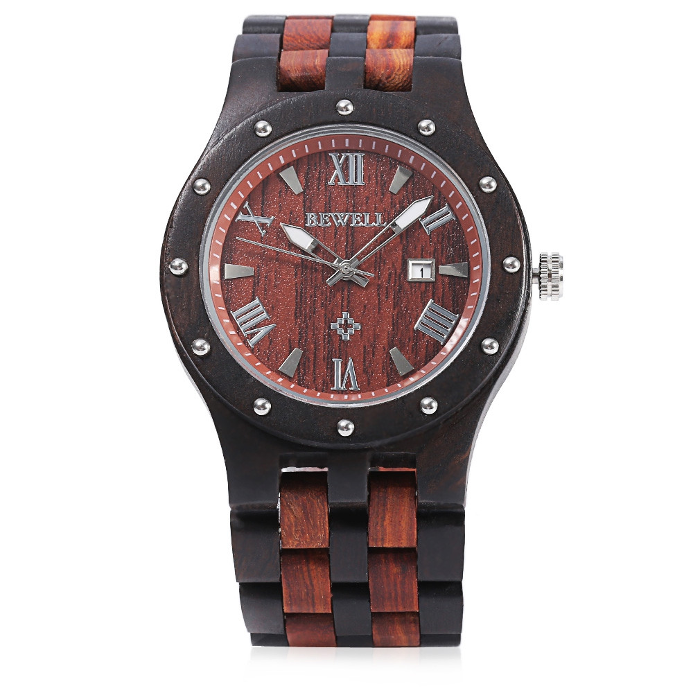 Bewell ZS - W109A Men Wooden Watch Quartz Movement Round Dial Wristwatch