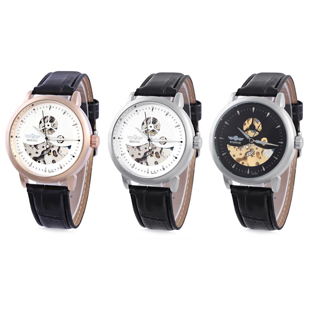 WINNER F2016826 Male Auto Mechanical Watch Distinct Pattern Luminous Hollow Dial Wristwatch