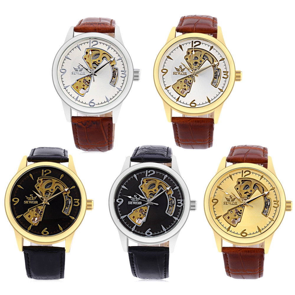 SEWOR SW031 Mechanical Hollow Dial Male Watch Leather Band Luminous Men Wristwatch