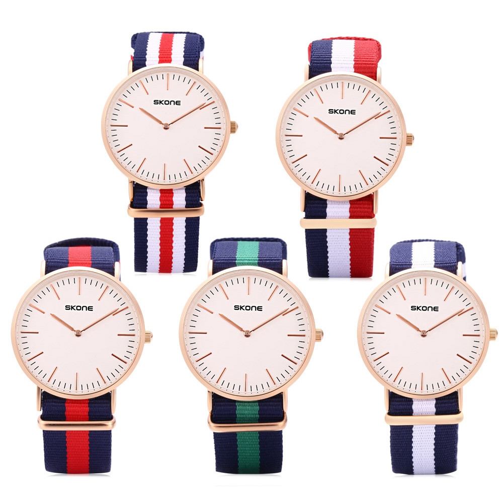 SKONE 6165G Male Quartz Watch Daily Waterproof Concise Style Nylon Band Japan Movt Wristwatch