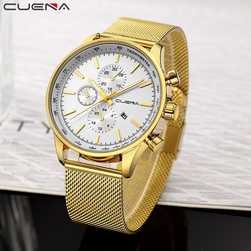 CUENA 6803G Men Stainless Steel Band Quartz Watch