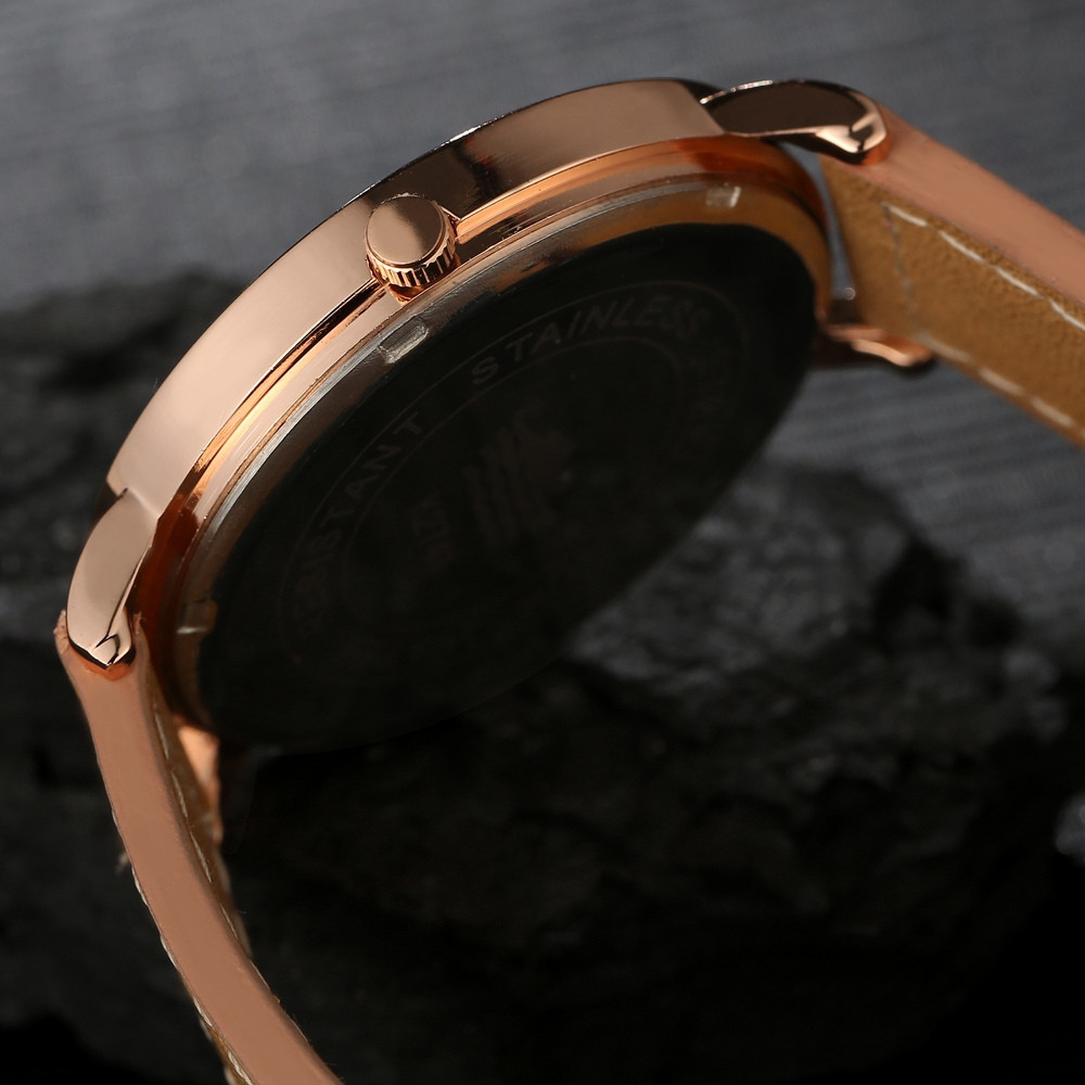 GAIETY  Men's Rose Gold Simple Leather Band Wrist Watch G032