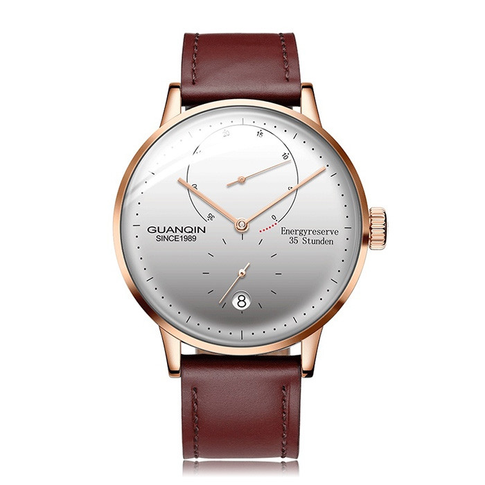 GUANQIN Business Leather Band Men Automatic Mechanical Watch