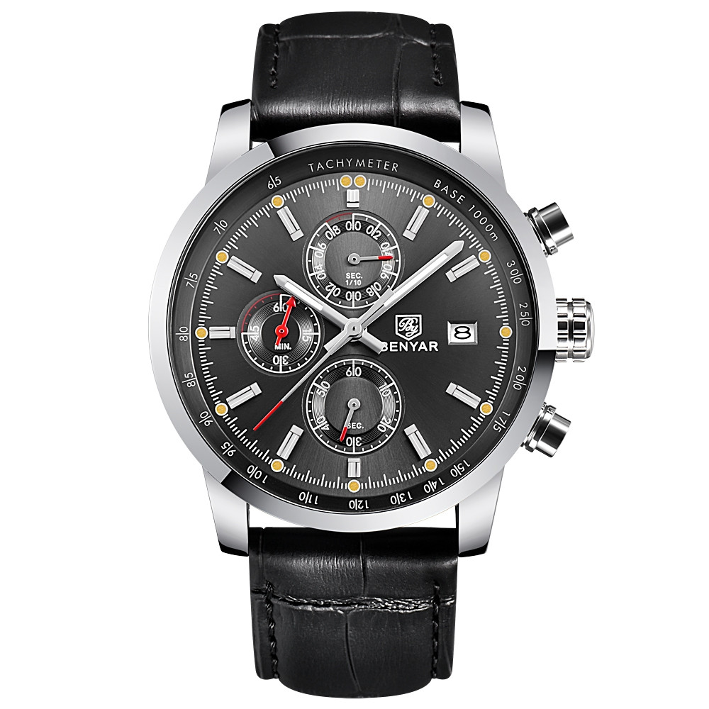 BENYAR Fashion Chronograph Sport Mens Top Brand Luxury Quartz Watch