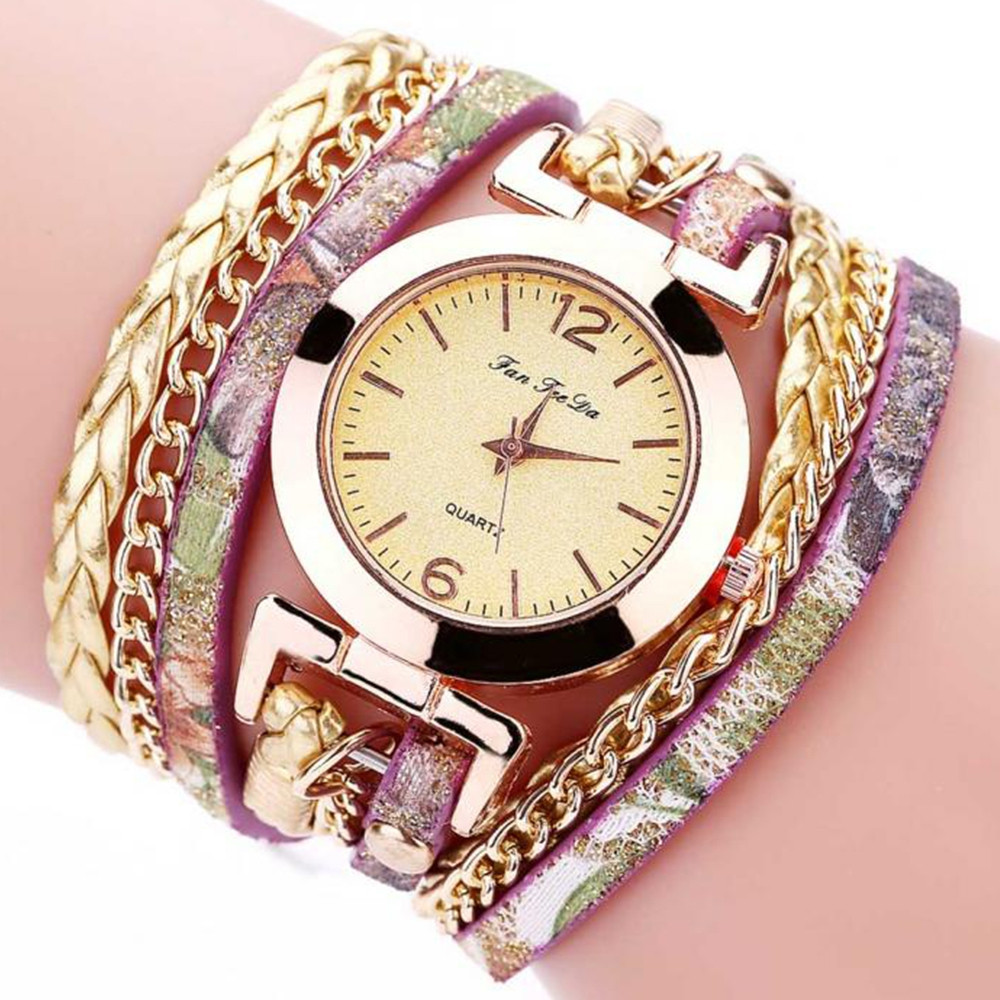 B0997 Women Fashion Bohemian Quartz Leather Weave Bracelet Watch