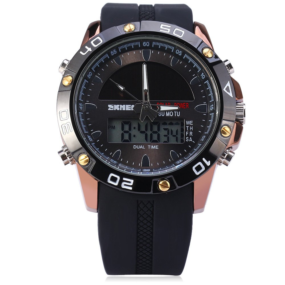 Skmei 1064 Solar Power Dual Movt LED Watch Military Sports Wristwatch