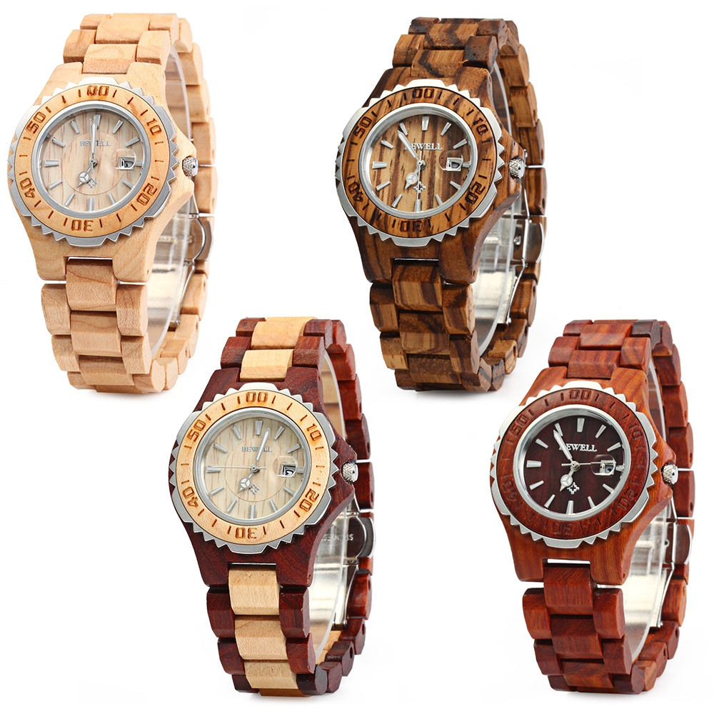 BEWELL ZS-100BL Metal Case Wooden Women Quartz Watch with 30M Water Resistance
