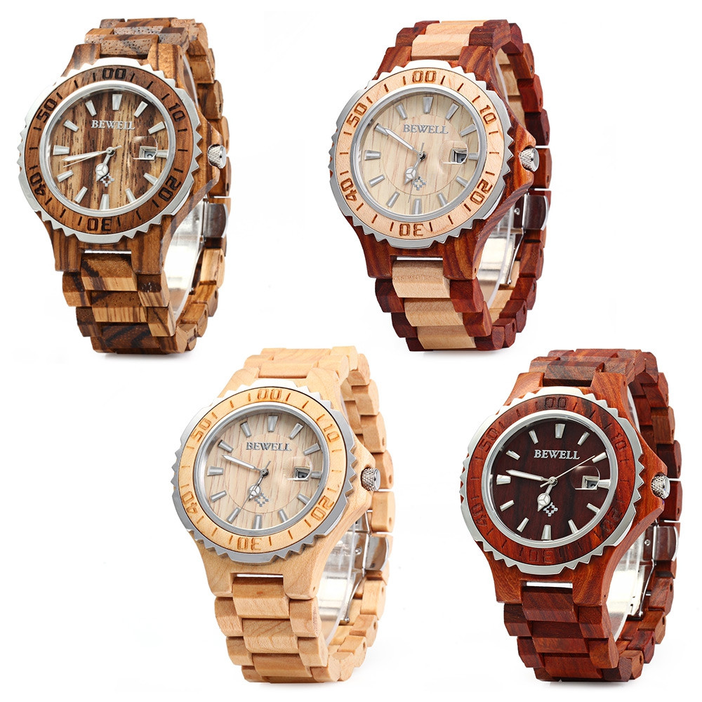 BEWELL ZS-100BG Metal Case Wood Men Quartz Watch with Metal Case 30M Water Resistance
