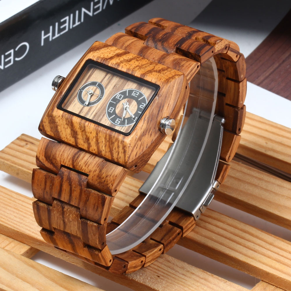 BEWELL ZS - W021C Wooden Men Quartz Watch Rectangle Dial Double Movement