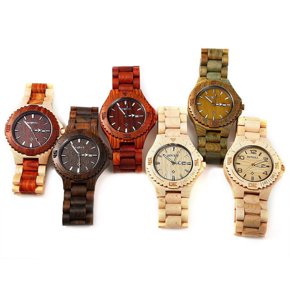 Bewell ZS-W023B Male Quartz Watch Wood Band Date Display