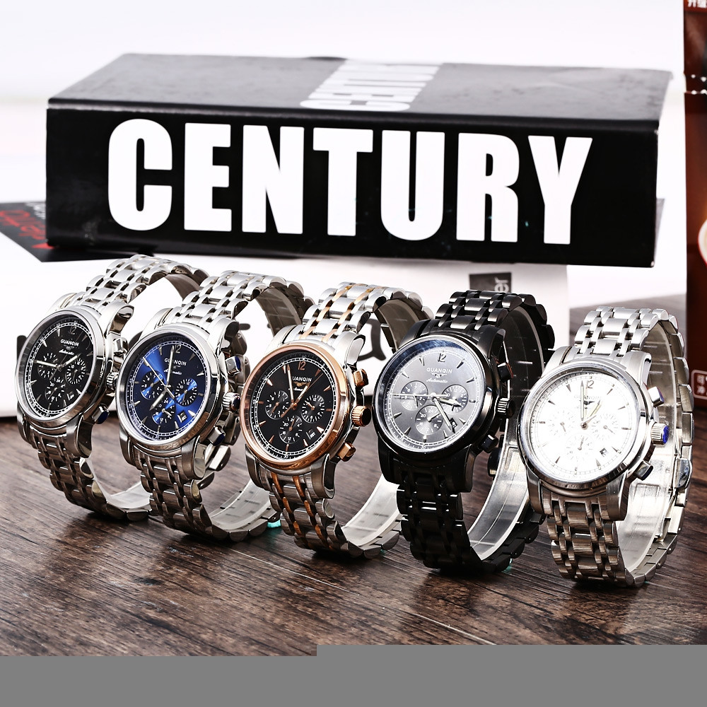 GUANQIN GJ16003 Water Resistant Male Japan Automatic Mechanical Watch Stainless Steel Strap Working Sub-dials