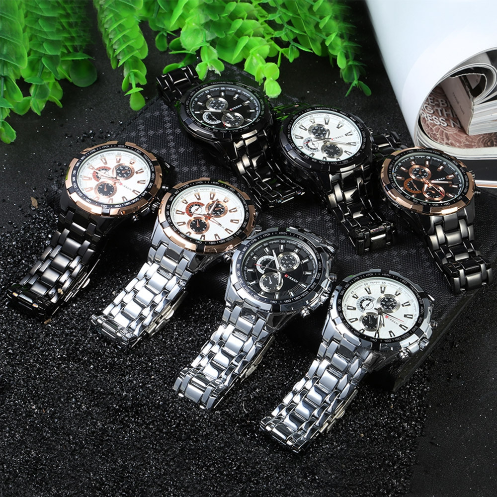 CURREN 8023 Men Quartz Watch Luminous Pointer Water Resistance Stainless Steel Strap Military Wristwatch