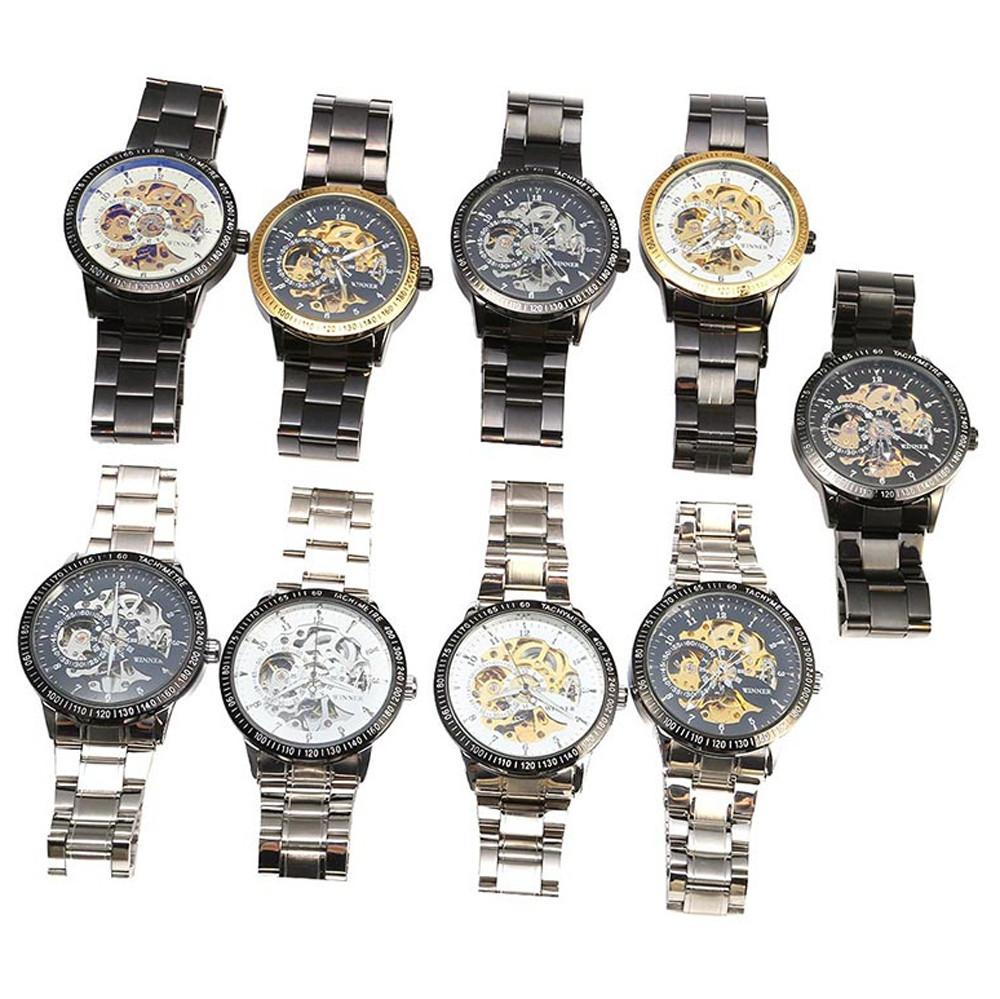Winner F120596 Men Automatic Mechanical  Wrist Watch Steel Strap