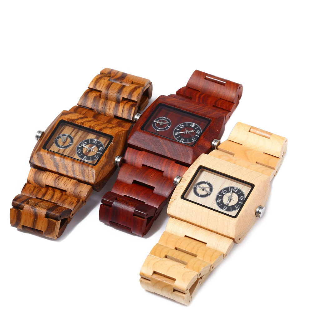 BEWELL ZS - W021C Men Quartz Watch Rectangle Dial Working Sub-dial Wooden Wristwatch