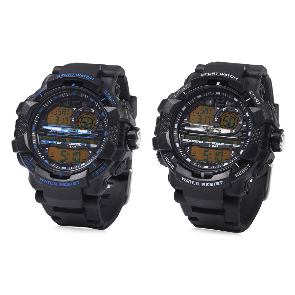 SKMEI 1164 Dual Movt Quartz Watch LED Digital Light Two Time Zones Calendar Chronograph Display Sport Wristwatch