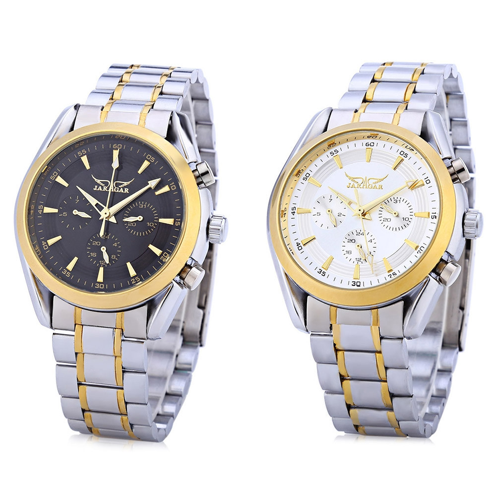 JARAGAR F1205203 Male Auto Mechanical Watch Calendar 24 hours Display Stainless Steel Band Wristwatch