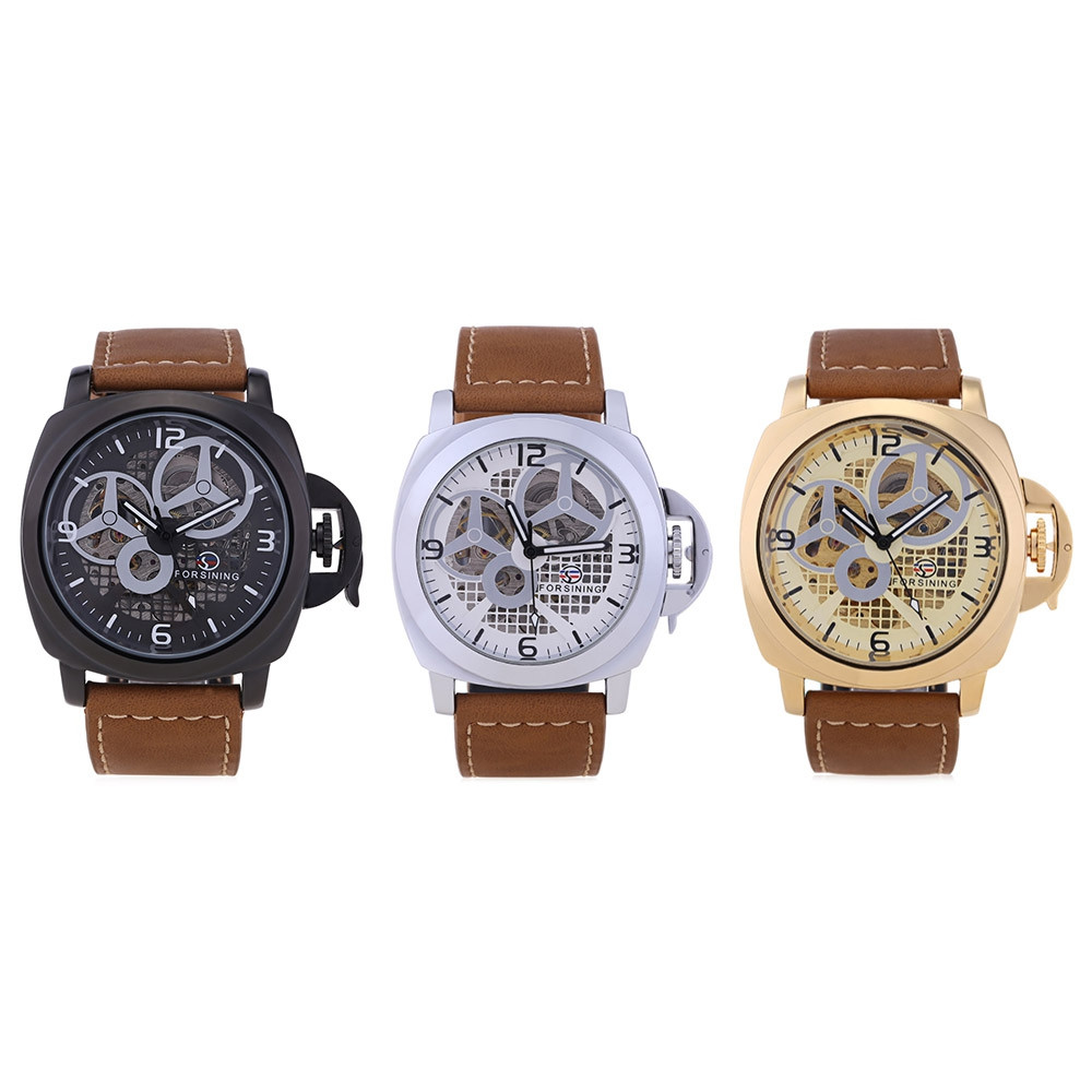 Forsining F201672005 Male Auto Mechanical Watch Hollow-out Dial Leather Band Wristwatch