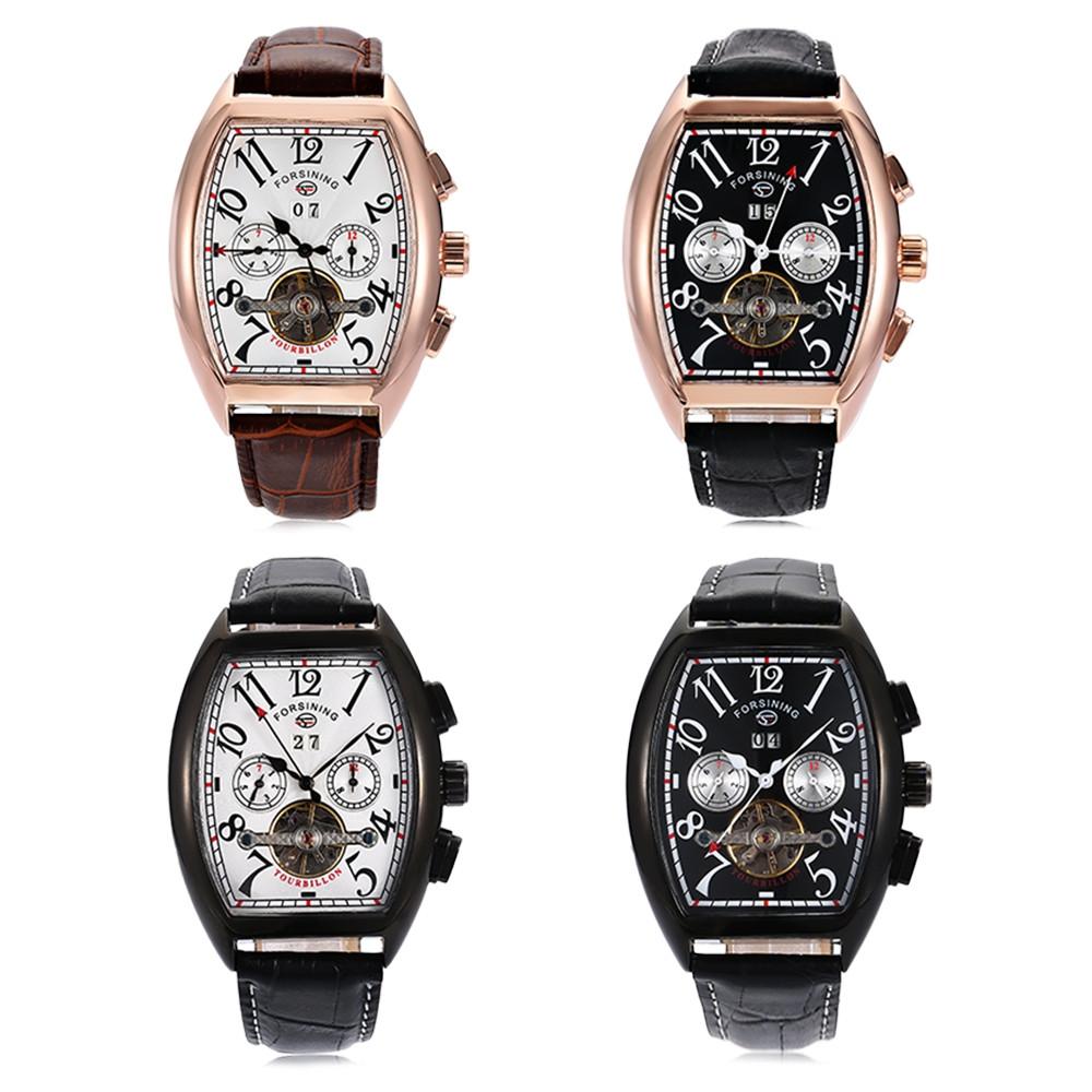 Forsining F201672801 Men Auto Mechanical Watch Tourbillon Calendar Genuine Leather Band Wristwatch