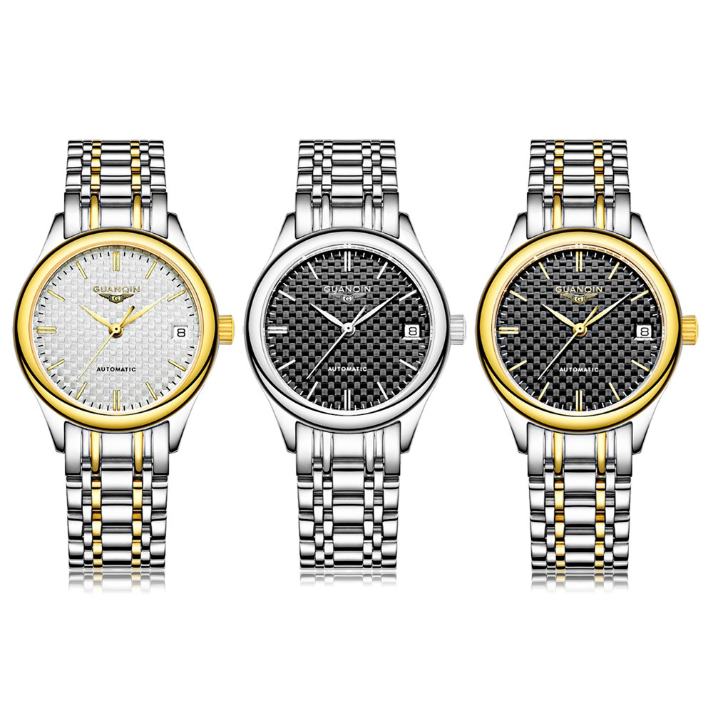 GUANQIN GJ18004 Female Auto Mechanical Watch Date Sapphire Mirror Stainless Steel Band Wristwatch