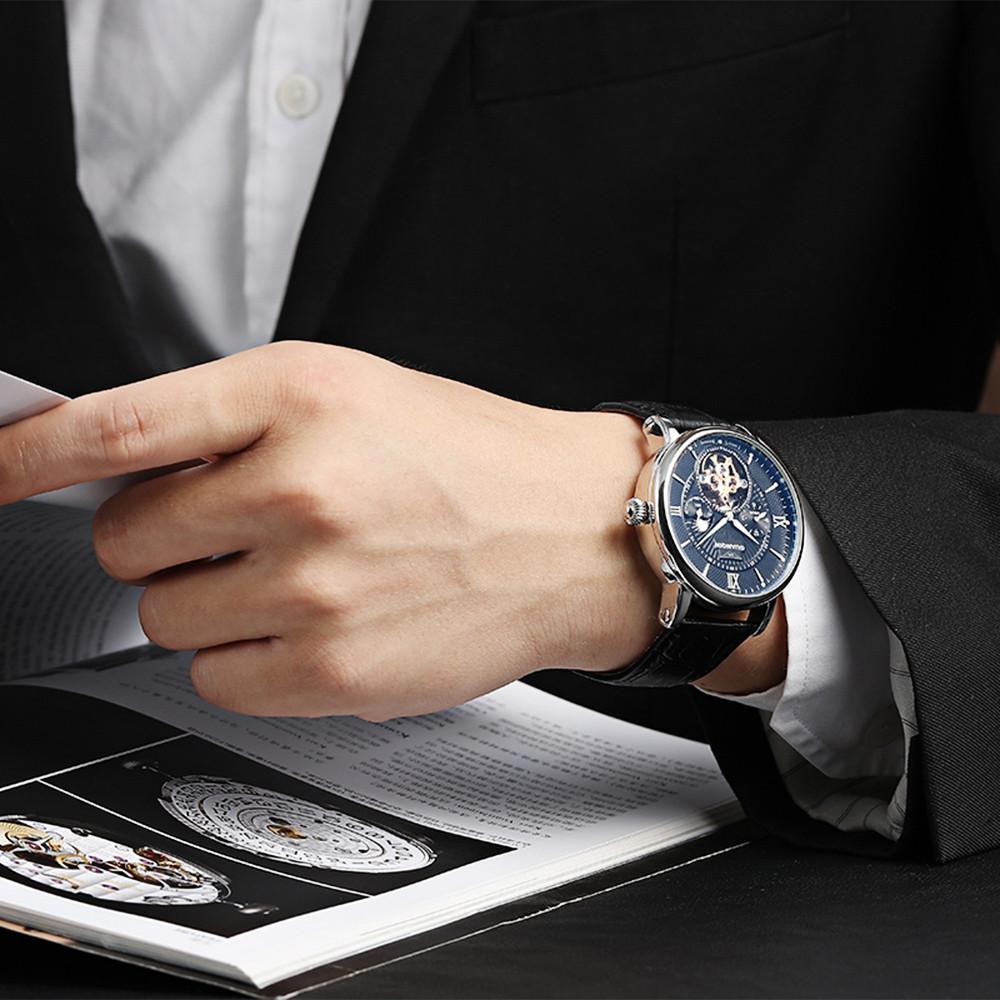 GUANQIN GJ16036 Men Auto Mechanical Watch Chronograph Moon Phase Luminous Wristwatch