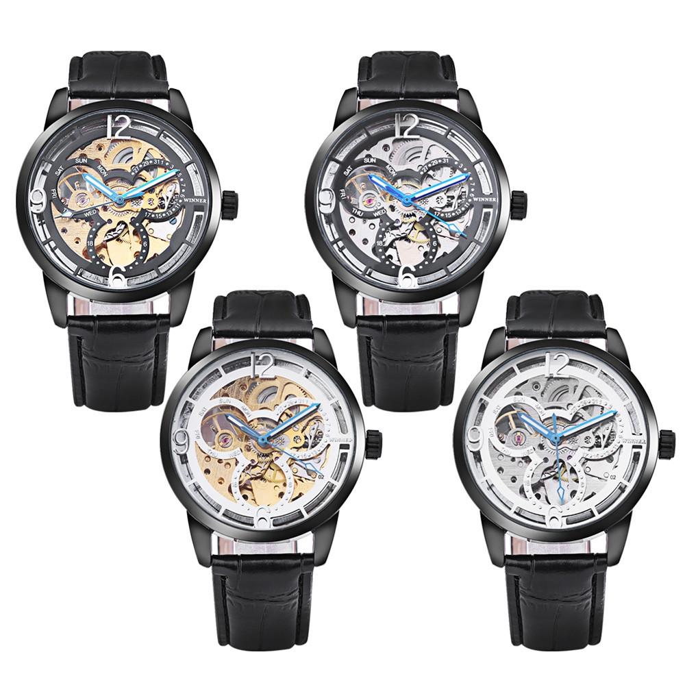 Winner 275 Male Auto Mechanical Watch Wheel Pattern Dial Luminous Men Wristwatch