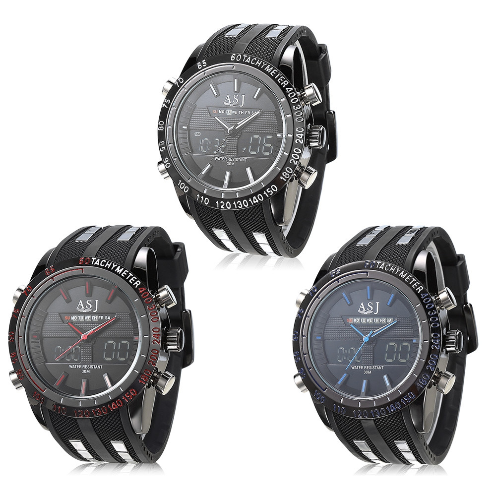 ASJ 8150 Dual Movt Sports LED Male Watch
