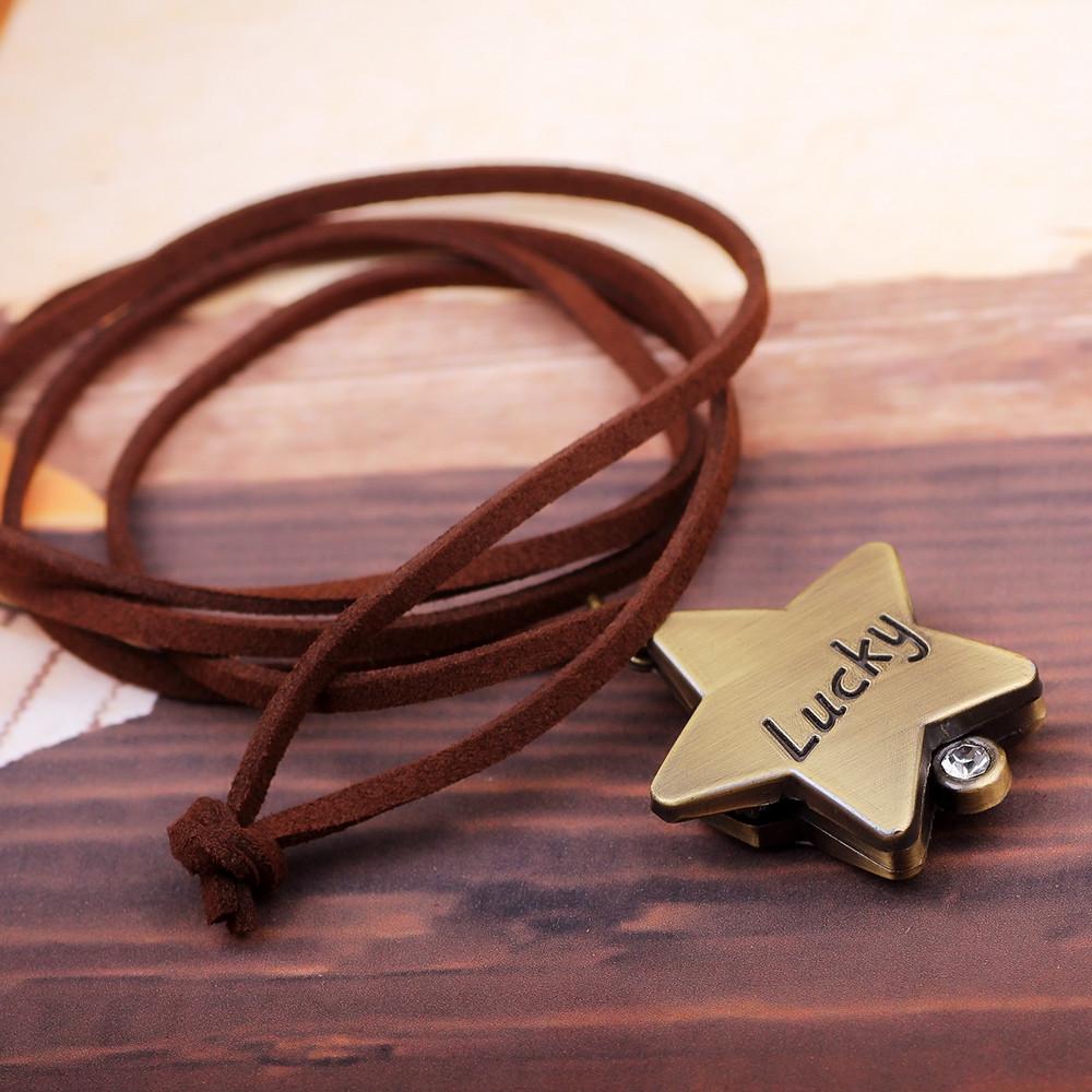 Retro Clamshell Pentagram Lucky Pocket Watch Set Auger