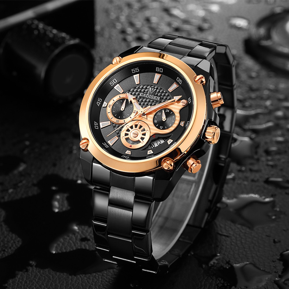 Cadisen C9053 Fashion Men Steel Band Multifunction Quartz Movement Watch