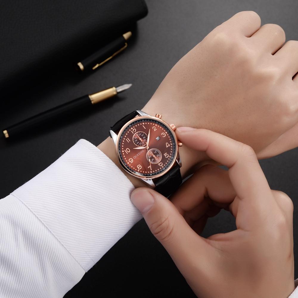 OUKESHI Leisure Style Fashion Men Quartz Calendar Leather Watch
