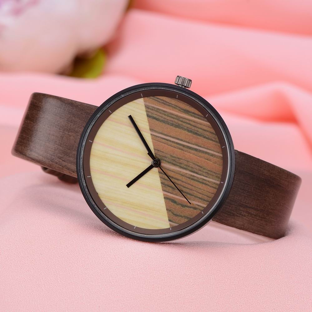 GAIETY Men's Wood Grain Pu Band  Wrist Watches G539