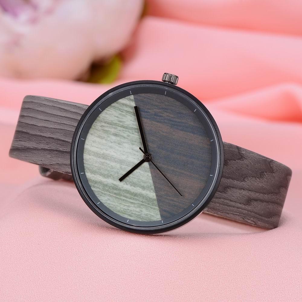 GAIETY Men's Wood Grain Pu Band  Wrist Watches G539
