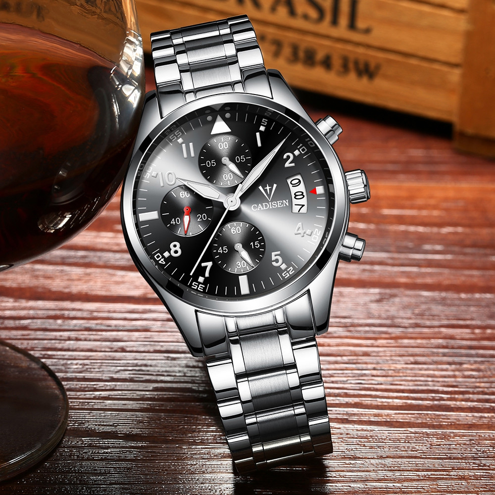 CADISEN C2013 Men Fashion Classic Multi-Function Stainless Steel Strap Waterproof Watch