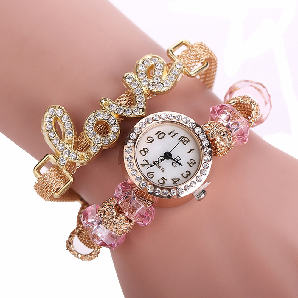 Fashion Women  Wrist  Love Word Bracelet Leather Ladies Bracelet  Quartz Timepiece Casual Watch