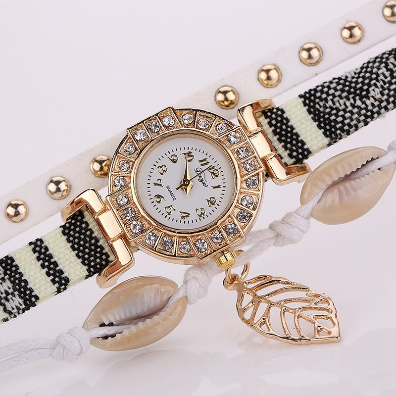 DUOYA D125 Lady Vintage Vacation Wind Gold Leaf Pendant Jewelry Watch WHITE