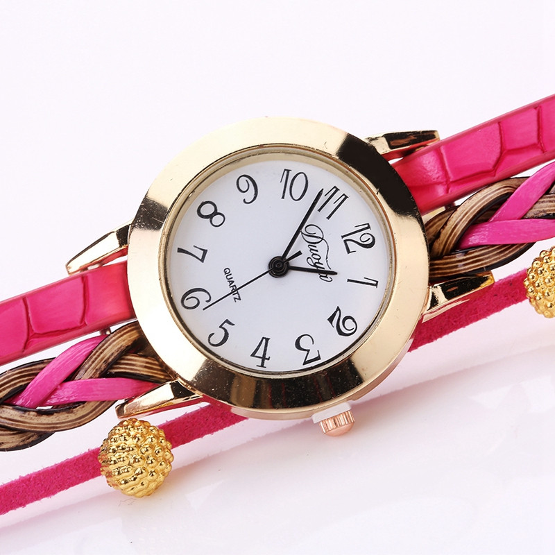 DUOYA D124 Fashion Ladies Round Watch Braided Beads Jewelry Watches ROSE