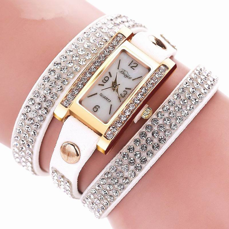 DUOYA D003 Women Leather Strap Rectangular Quartz Wrist Watch With Rhinestones WHITE
