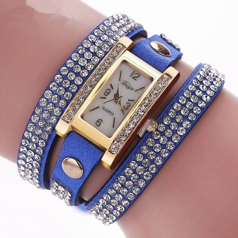 DUOYA D003 Women Leather Strap Rectangular Quartz Wrist Watch With Rhinestones BLUE