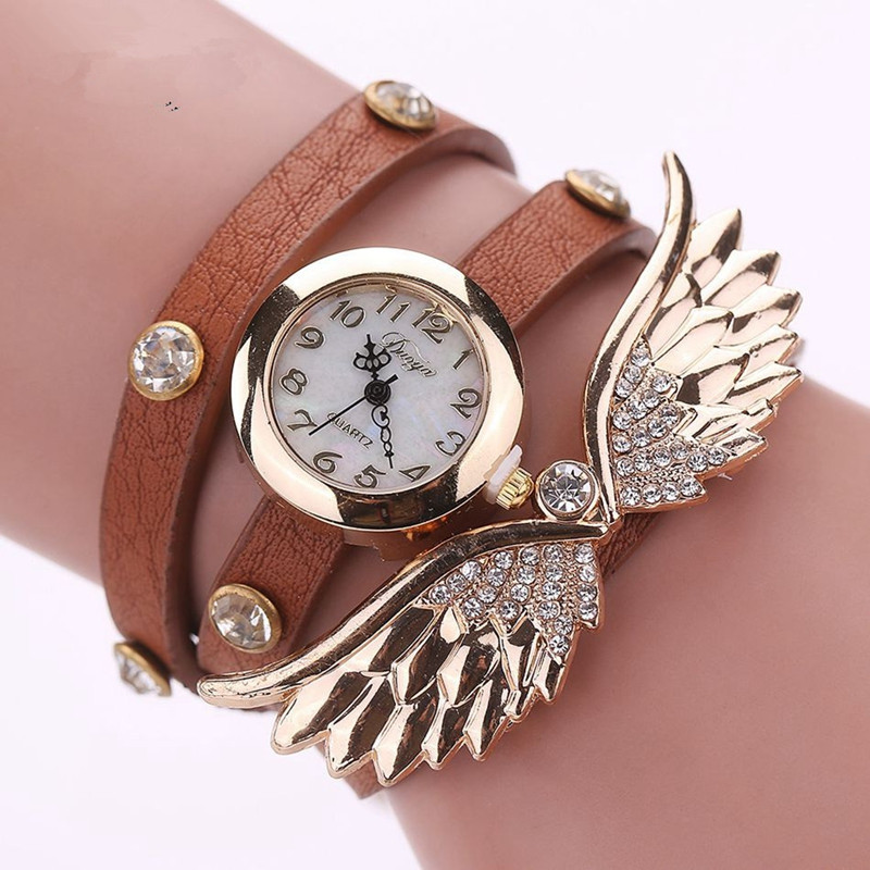 DUOYA D001 Women Analog Quartz Leather Bracelet Wrist Watch with Wings COFFEE