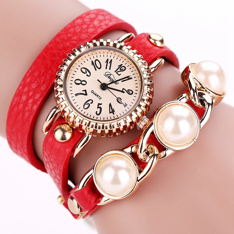DUOYA D018 Women Bracelet Pearl Belt PU Watch Quartz Watch RED