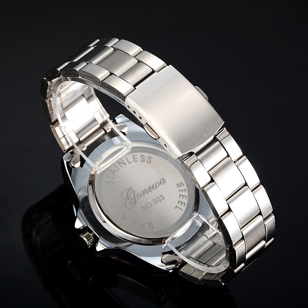 GON037 Men Classic Metal Band Quartz Watch SILVER AND BLUE
