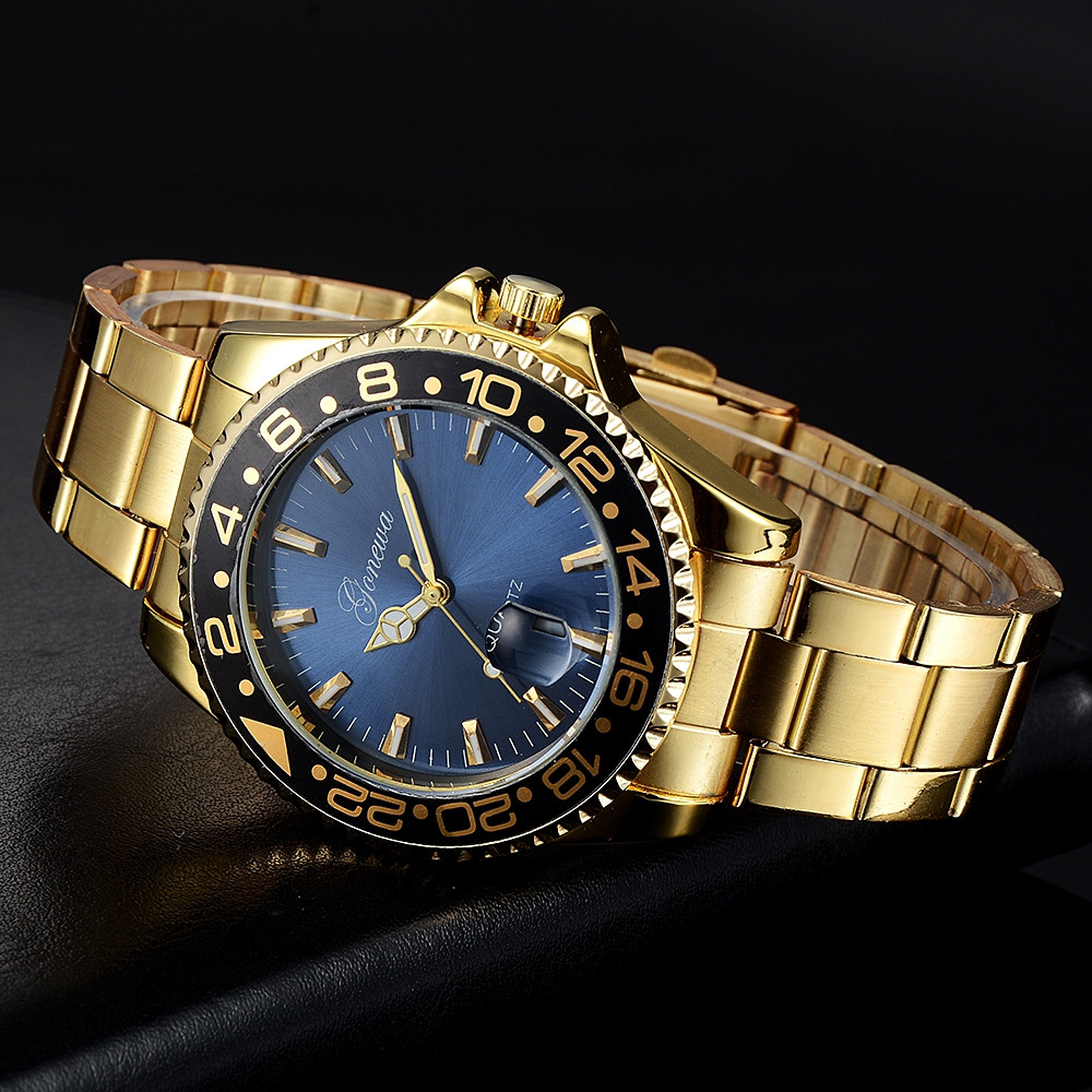 GON037 Men Classic Metal Band Quartz Watch GOLD AND BLUE