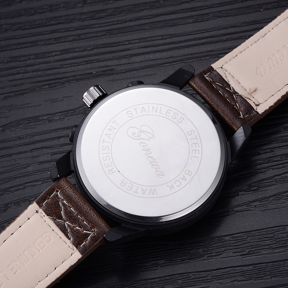 GON028 Men Fashion Leather Band Big Face Quartz Watches COFFEE