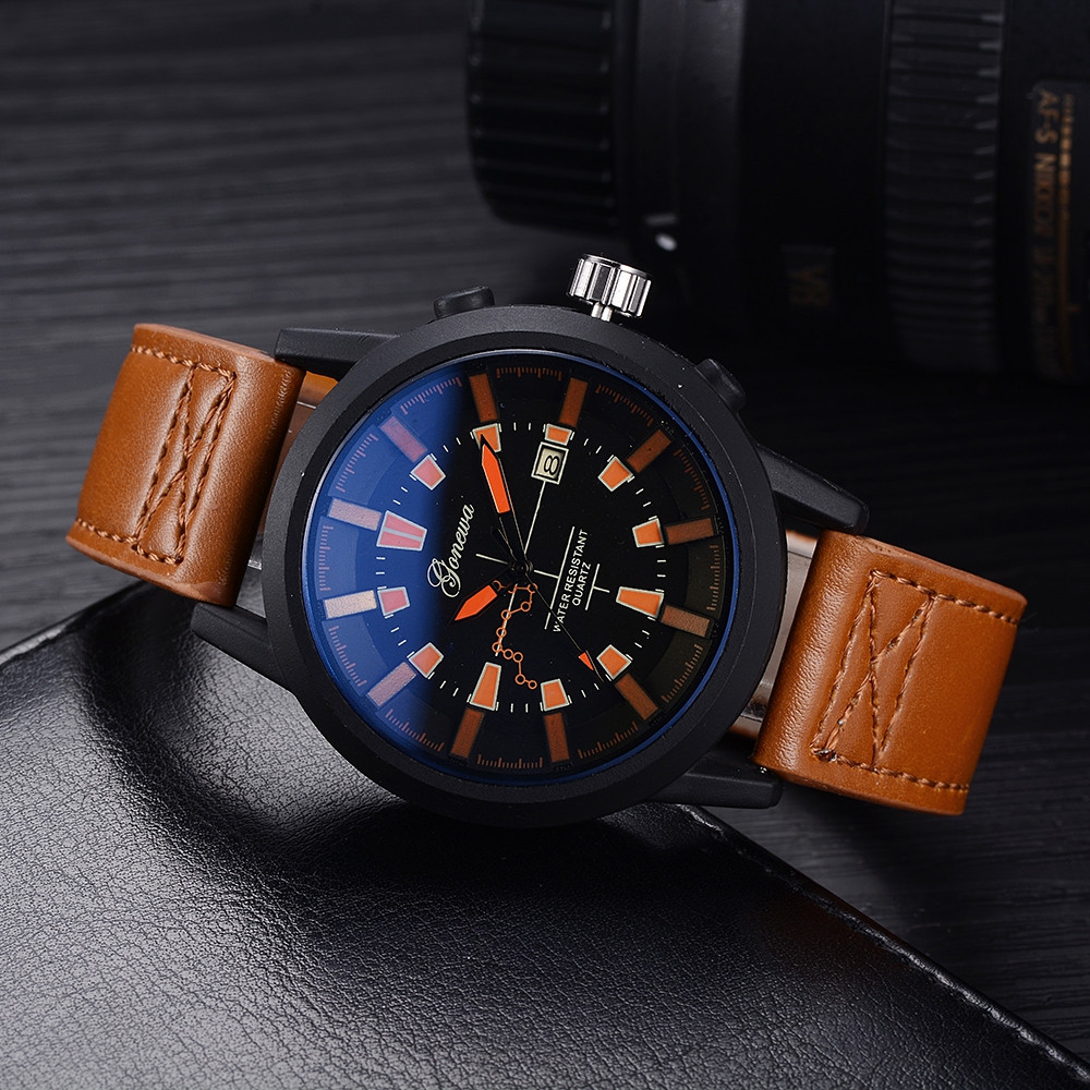 GON028 Men Fashion Leather Band Big Face Quartz Watches BROWN