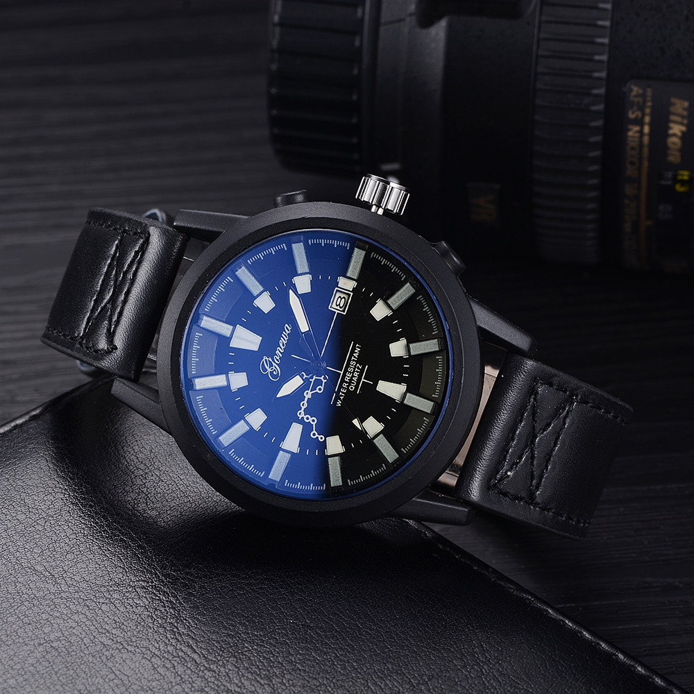GON028 Men Fashion Leather Band Big Face Quartz Watches BLACK