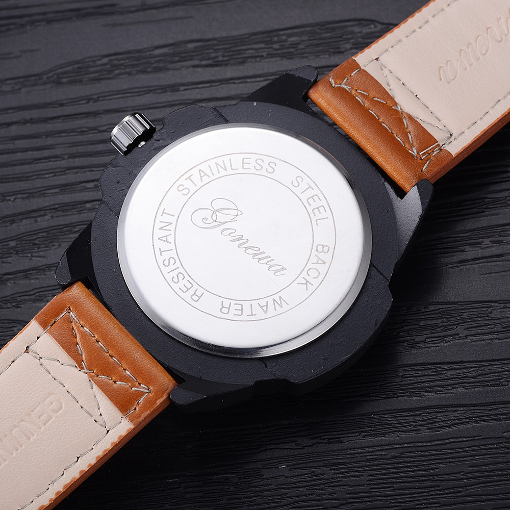 GON027 Men Leather Band Wrist Watch BROWN