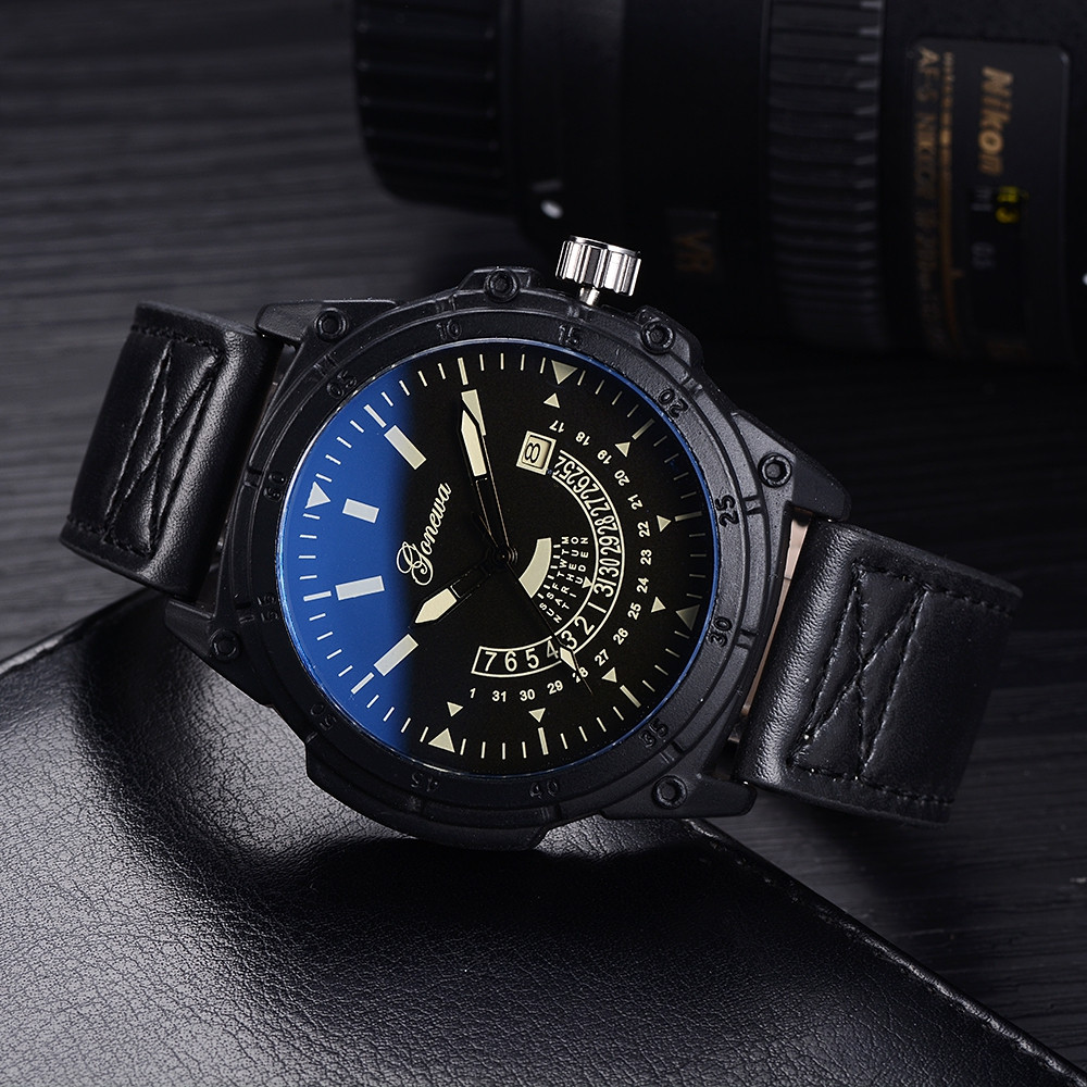 GON027 Men Leather Band Wrist Watch BLACK